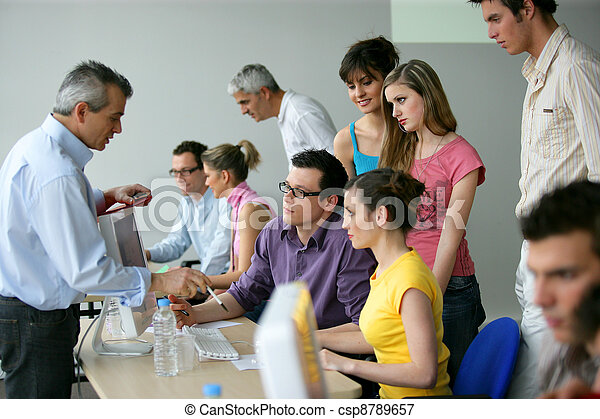 businesspeople on an education training - csp8789657