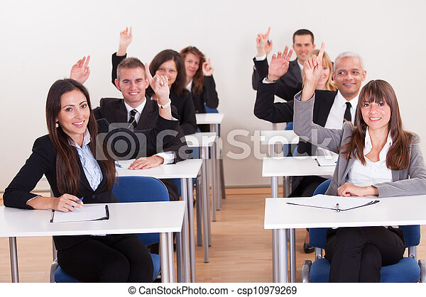 Businesspeople Raising Their Hands - csp10979269