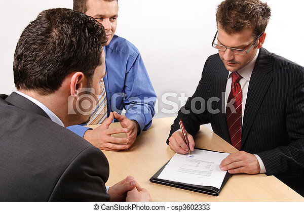 Businesspeople signing a contract - csp3602333