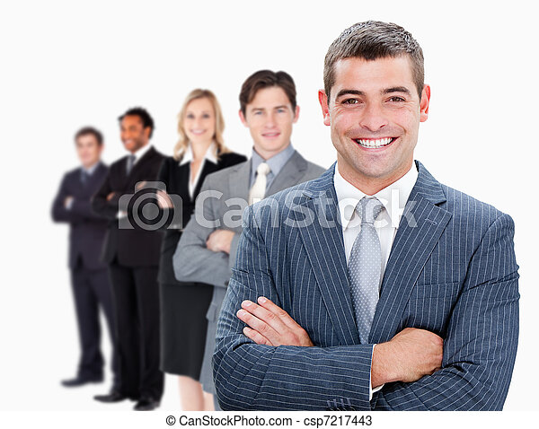 Businesspeople standing in a row - csp7217443