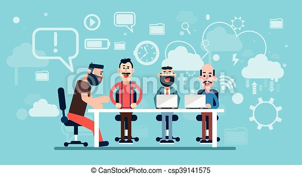 Businesspeople Team Working Abstract Business Technology Background Workplace - csp39141575