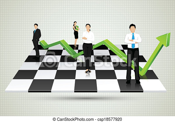 Businesspeople with arrow standing on Chessboard - csp18577920