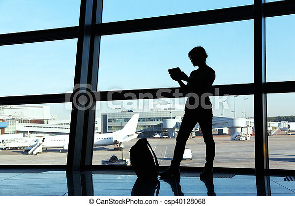 businesswoman at the airport - csp40128068