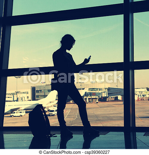 businesswoman at the airport - csp39360227