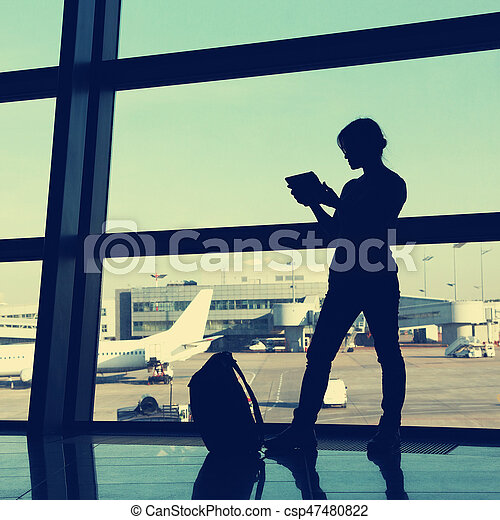 businesswoman at the airport - csp47480822