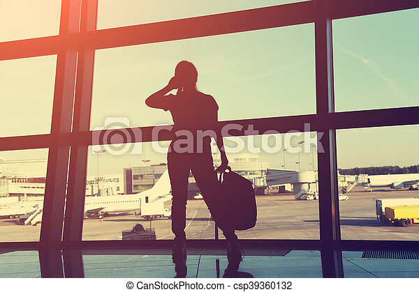 businesswoman at the airport - csp39360132