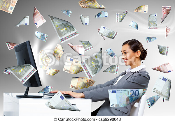 Businesswoman  at workplace and money symbols - csp9298043