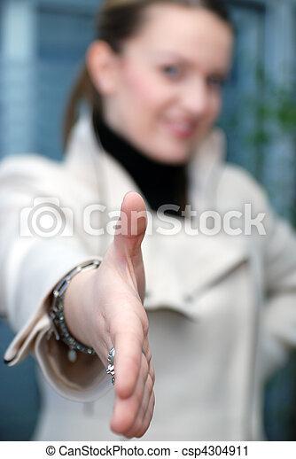 .businesswoman, bereit, schütteln hände - csp4304911