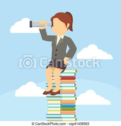businesswoman, boek, stapel, zittende  - csp41436563