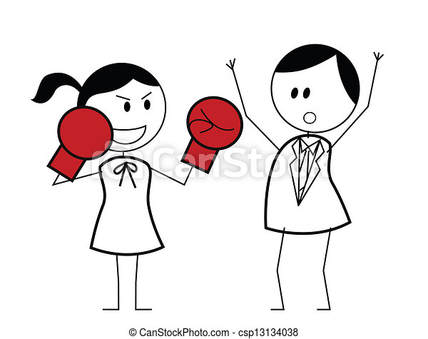 businesswoman boxer fighting - csp13134038