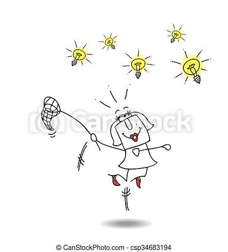 businesswoman catches ideas - csp34683194