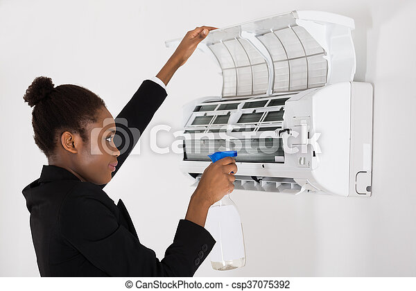 Fine Young African Businesswoman Cleaning Air Conditioner In Office Wiring Cloud Hisonuggs Outletorg
