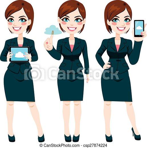 Businesswoman Cloud Computing - csp27874224