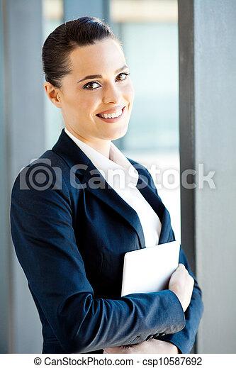 businesswoman, computer, vasthouden, tablet - csp10587692