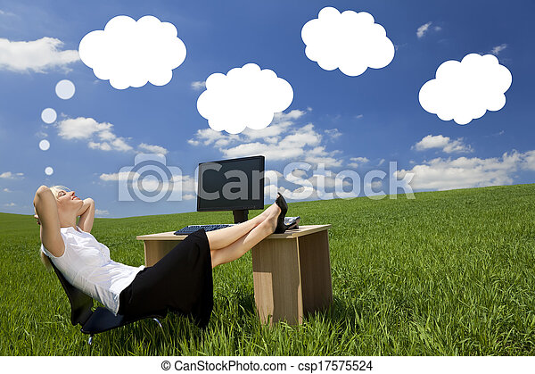 Businesswoman Day Dreaming Green Field Office  - csp17575524