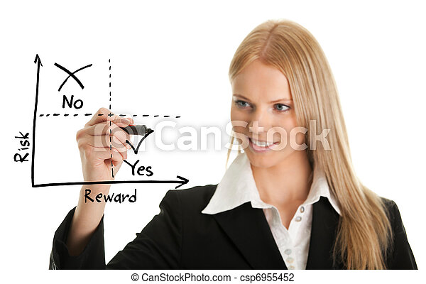 Businesswoman drawing a risk-reward diagram - csp6955452