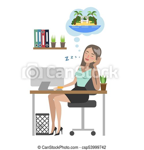 Vector Businesswoman Dreaming About Vacation