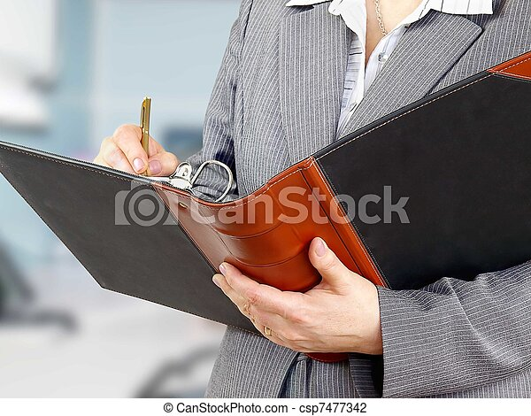 Businesswoman filling a form  - csp7477342