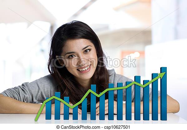 businesswoman, financiën, tabel - csp10627501