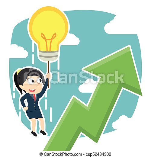 businesswoman fly with her idea and see upward graphic - csp52434302