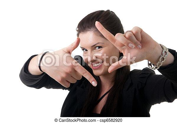 businesswoman framing face - csp6582920
