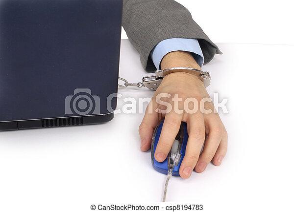 businesswoman hand on computer - csp8194783