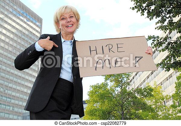 Businesswoman Hire Me - csp22082779