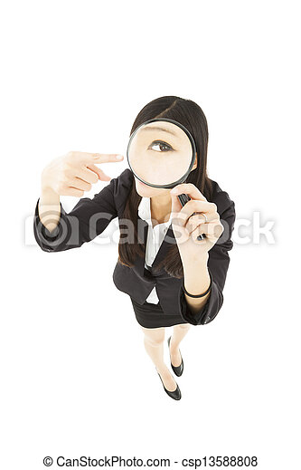 businessWoman holding Magnifying Glass and pointing - csp13588808