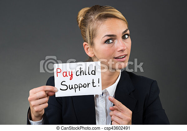 Businesswoman Holding Paper With Hire Me Text - csp43602491