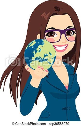 Businesswoman Holding World - csp36586079
