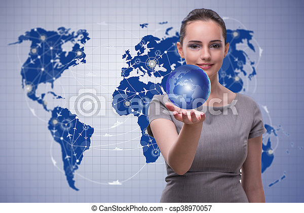 Businesswoman in air transportation concept - csp38970057