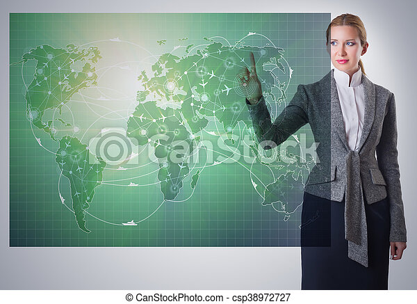 Businesswoman in air transportation concept - csp38972727