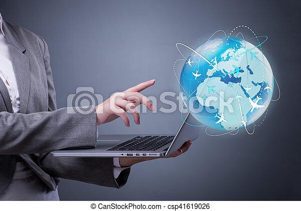 Businesswoman in air travel concept - csp41619026