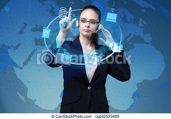 Businesswoman in global computing concept - csp42523489
