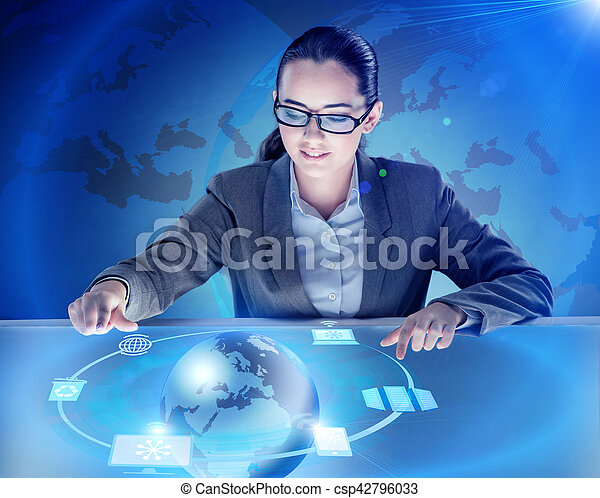 Businesswoman in global computing concept - csp42796033
