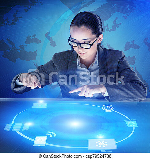 Businesswoman in global computing concept - csp79524738