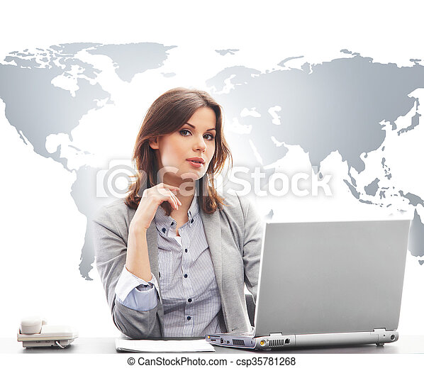 Businesswoman in office on world map background beautiful stock businesswoman in office on world map background csp35781268 gumiabroncs Gallery