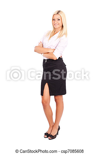 Businesswoman isolated on white - csp7085608