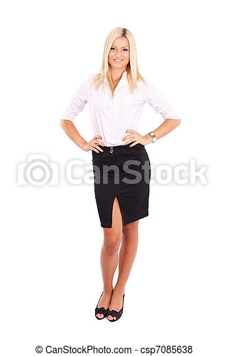 Businesswoman isolated on white - csp7085638