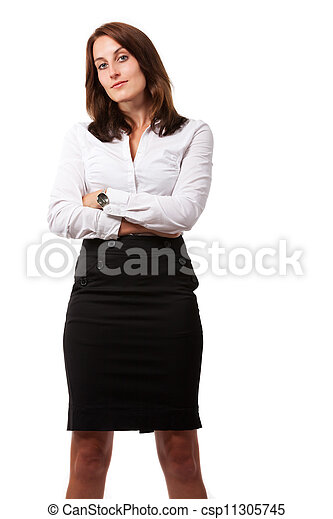 businesswoman isolated on white - csp11305745