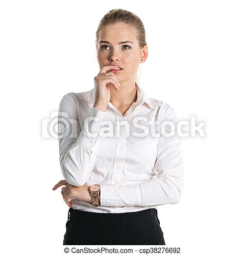 Businesswoman isolated on white - csp38276692