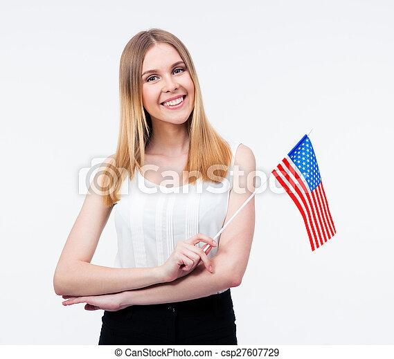 businesswoman, jonge, ons vlag, vasthouden, vrolijke  - csp27607729
