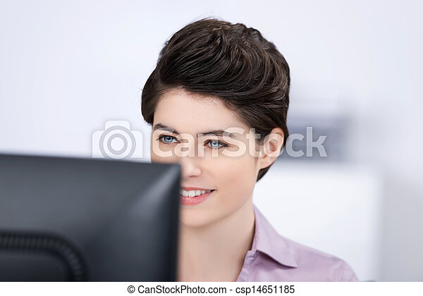 Businesswoman Looking At Computer In Office - csp14651185