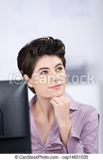 Businesswoman Looking Away In Office - csp14651035