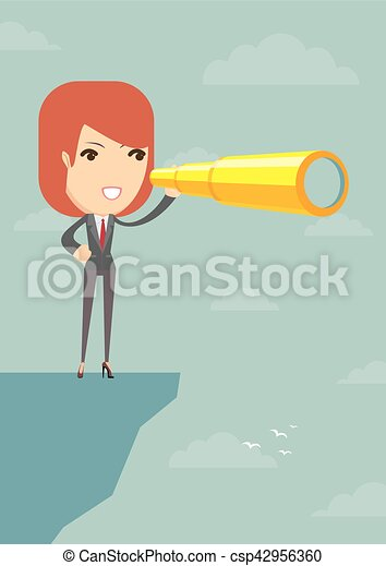 Businesswoman looking for business future on the cliff - csp42956360