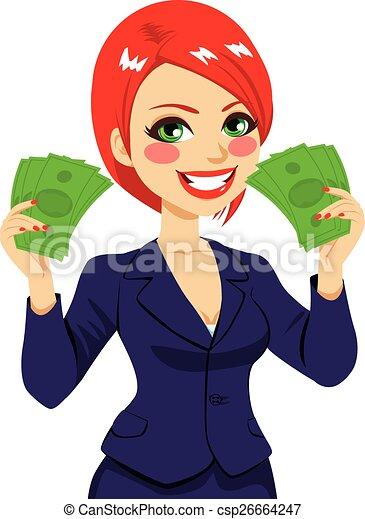 Businesswoman Money Fan Success - csp26664247