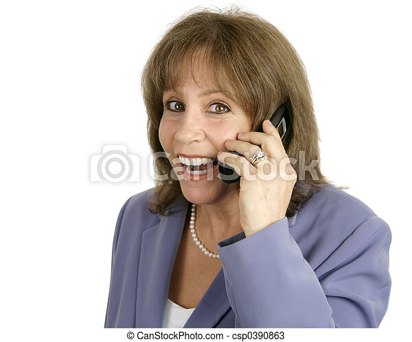 Businesswoman on Cellphone - Surprised - csp0390863