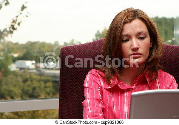 Businesswoman on Computer - csp9321066