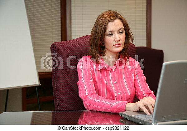 Businesswoman on Computer - csp9321122
