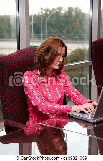 Businesswoman on Computer - csp9321069